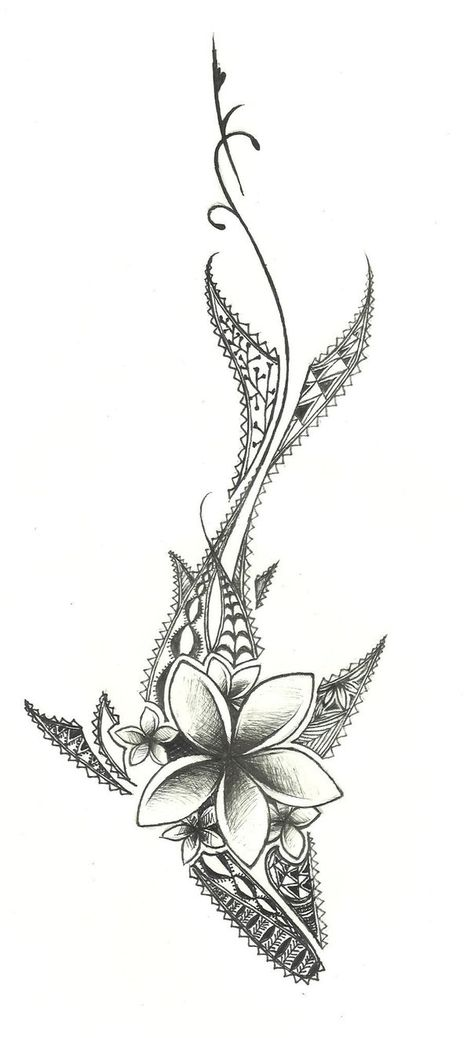 this is a drawing design i did for a tattoo! its a shark with traditional polynesian designs. and yea some flowers.
