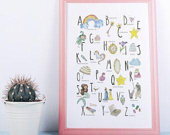Impression De Mon Aquarelle Originale Alphabet Princesse En