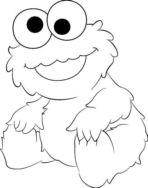 Coloring Page COOKIE MONSTER | | sesame street cake in 2019 ...