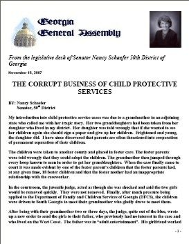 Report Of Georgia Senator Nancy Schaefer On Cps Corruption Child