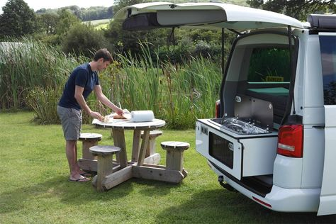 Slidepods are a way to add a rear campervan kitchen pod to campervan conversions including VW T5, Caravelle, California Beach, VWT4, Bongo, Vito, Transit