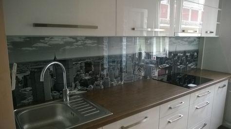 Kitchen glass backsplash with digital printing made of tempered - wandpaneele küche glas