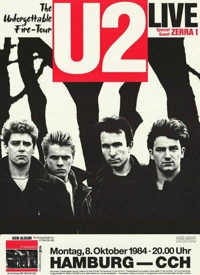 U2 Unforgettable Fire Tour Hamburg 1984 Rare Poster