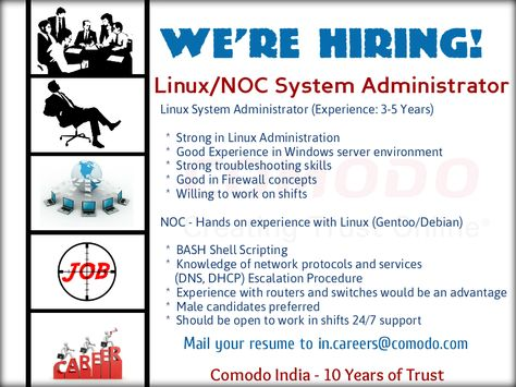 Weu0027re Hiring! Job Title Linux System Administrator (Experience 3 - linux administrator sample resume