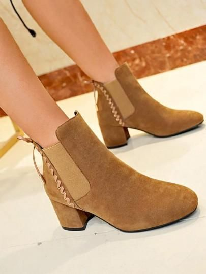 6c3f9b70742 Brown Round Toe Chunky Fashion Ankle Boots in 2019   Products ...