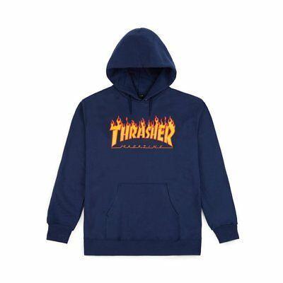 Details about Thrasher FLAME LOGO HOODIE Navy Yellow Orange