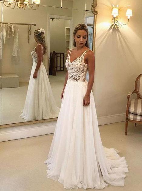 Elegant Chiffon Lace Applique Backless Beach Wedding Dress OW334