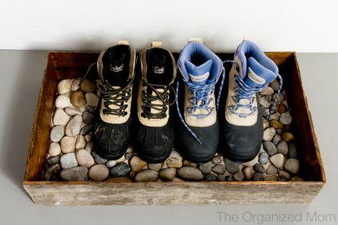 DIY Crate & Pebbles Boot Storage / Mini Mudroom