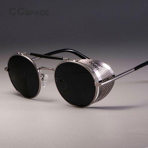 Unisex Vintage Metal Cyber Sunglasses Punk Steampunk Round Blinder Shade Goggles
