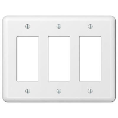 Amerelle Declan 3 Gang Rocker Steel Wall Plate White 935rrrw Plates On Wall Decorative Light Switch Covers Steel Wall