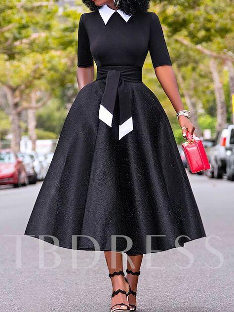 Hollow Bowknot Stand Collar Half Sleeve Women's Maxi Dress