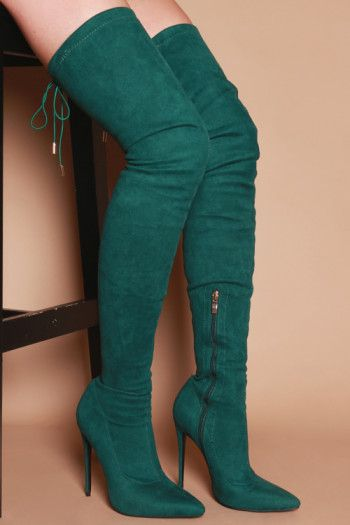 f4159abe783 Hayley Skinny Heeled Thigh High Boots in Teal Green Vegan Suede ...