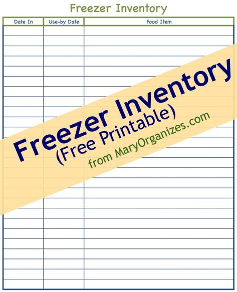 Freezer \ Pantry FREE Printable Organizadores, Cocinas y Varios - food inventory template