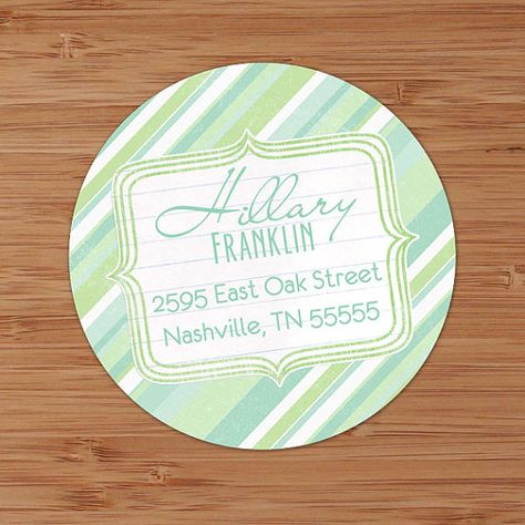 Seashore Stripes Custom Return Address Labels or Stickers by PoshGirlBoutique