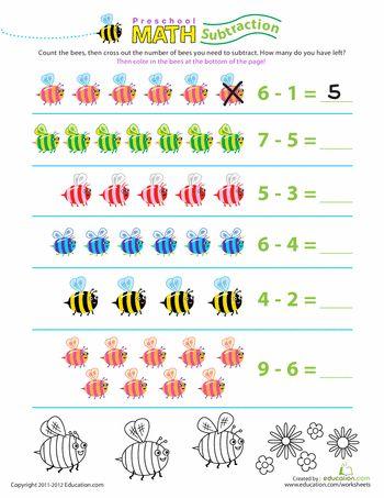 Preschool Math Take Away The Bees Worksheet Education Com Preschool Math Math Workbook Kindergarten Math Worksheets