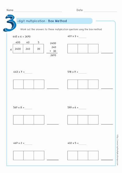 Box Method Multiplication Worksheet Luxury Box Method Multiplication 3 Digit Numbers Workshe In 2020 Box Method Multiplication Multiplication Worksheets Multiplication