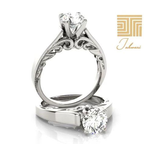 خاتم سوليتير الماس سوليتير رقيق و مرهف بتصميم دقيق يعانق الأنامل بعشق يتألق بحجر لافت من الماس في المنتصف لكي يتوج جمال ال Engagement Rings Rings Engagement