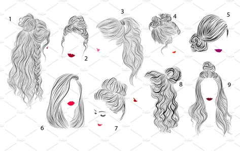 9 vector hairstyles illustrations , #AFFILIATE, #waves#ideas#curls#straight #Ad