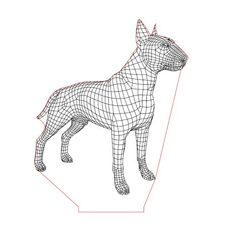 Bull Terrier Dog 3d Illusion Lamp Plan Vector File For Laser And Cnc 3bee Studio Bull Terrier 3d Illusions 3d Illusion Lamp