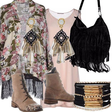 Se ancora le giornate non sono freddissime...look in stile bohemien, quindi il via a frange mixate a fantasie, kimono per il giorno e bracciali o gioielli eccentrici nel mood che sentiamo nostro. Buono shopping! Ps: gli stivaletti sono davvero stupendi!