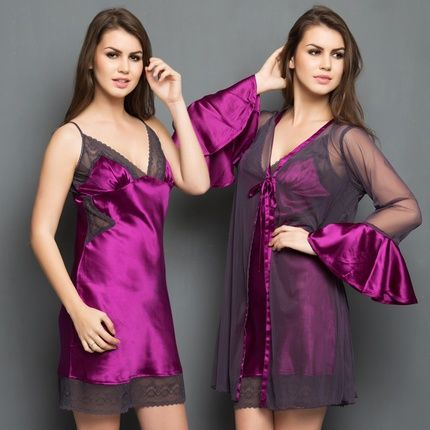 2c9cbd3d65 2 Pcs Set Of Premium Satin Nightslip And Robe