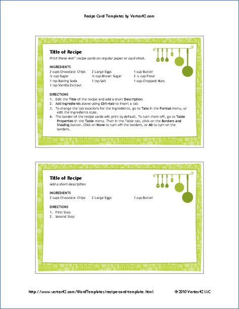 X Recipe Card Template With Pretty Green Border And Hanging Pots