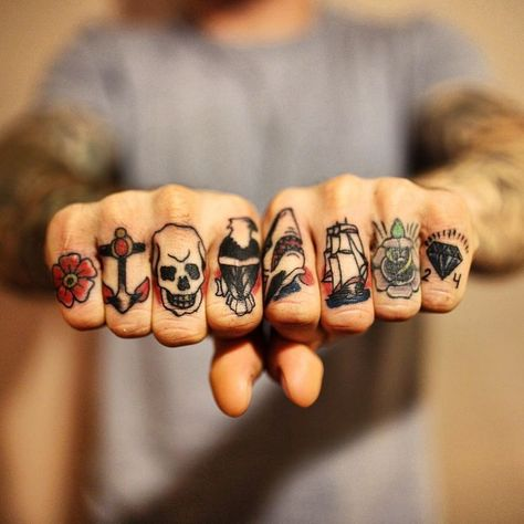 tattoo tattoos knuckle knuckles traditional American ink tattooed hands hand -