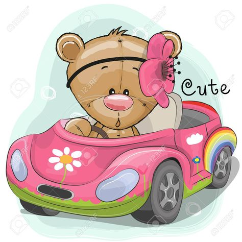 Cute Cartoon Teddy Bear Girl Goes On A Pink Car Affiliate