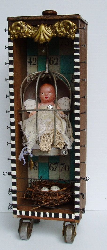 Art Assemblage Found Objects Flight by nunnsense on Etsy, $85.00