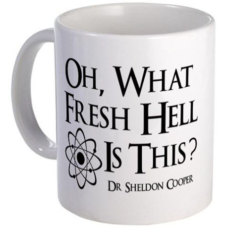 """Fresh Hell Mug. I need one of these for work! Needs to say """"bazinga!"""" on the other side. Fresh Hell Mug. I need one of these for work! Needs to say bazinga! on the other side. Coffee Mug Quotes, Funny Coffee Mugs, Coffee Humor, Funny Mugs, Big Bang Theory Gifts, Big Bang Theory Merchandise, Coffee Cups, Tea Cups, Coffee Zone"""
