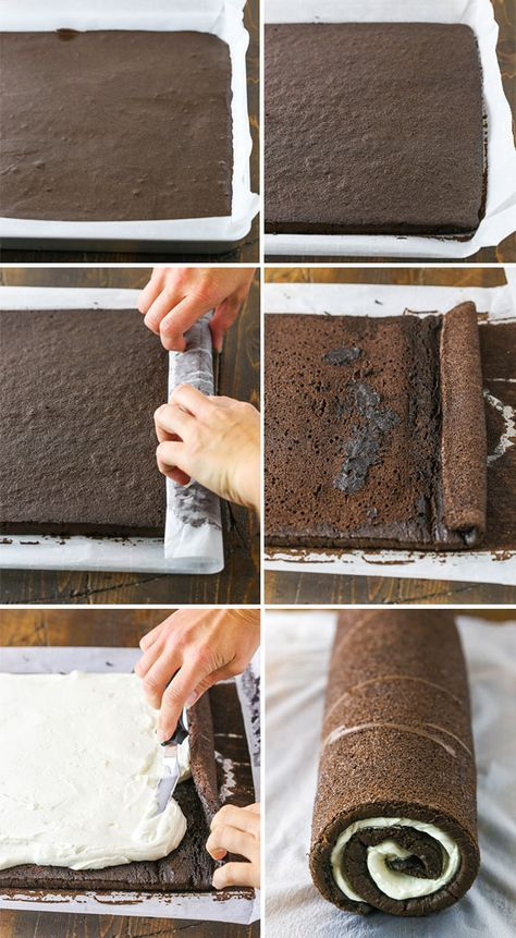 You Won't Believe How Easy it is to Make this Chocolate Yule Log Cake! This classic Yule Log Cake has tender chocolate sponge cake filled with mascarpone whipped cream and covered with whipped chocolate ganache! Chocolate Roll Cake, Chocolate Sponge Cake, Chocolate Ganache, Chocolate Log Recipe, Noel Christmas, Christmas Desserts, Christmas Log Cake, Chocolate Christmas Cake, Holiday Cakes