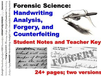 Forensic Science Questioned Documents Student Notes Worksheet And Teacher Key Handwriting Analysis Forensic Science Science Notes