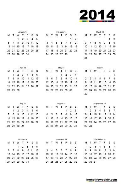 Free Printable Calendars 2014 Militaryalicious