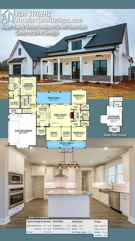 Plan 51762hz Budget Friendly Modern Farmhouse Plan With Bonus Room Architectural Design House Plans Modern Farmhouse Plans Farmhouse Floor Plans