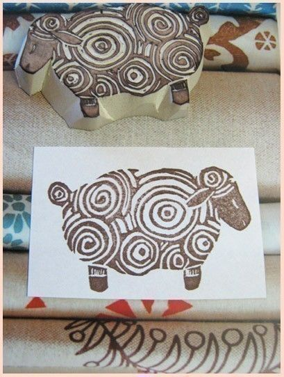 Curly Sheep Rubber Stamp