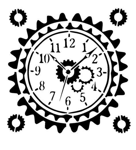 "steampunk clock stencil  craft,fabric,glass,furniture,wall art up to 23/"""