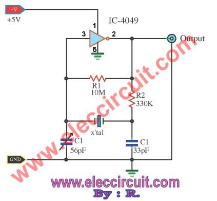 5 Crystal Oscillator Circuits Using Cmos Electronics Projects Circuits Circuit Electronics Circuit Electronics Projects