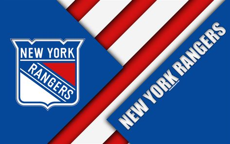 Download wallpapers New York Rangers, NHL, 4k, material design, logo, blue abstraction, lines, American hockey club, NY, USA, National Hockey League