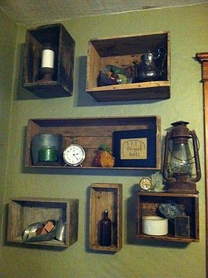Use Old Crates and Drawers as shadow boxes  Sis, you need a shallow crate for your craft room wall to act as a shelf.  It will be an homage to your dresser from when we were little!!