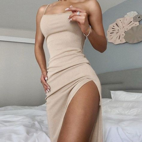 BOOFEENAA Solid Color Ribbed Knit Elegant Bodycon Dress Sexy One Shoulder Slit Maxi Dresses for Women Party Club Wear C76-AB86 - Apricot / M