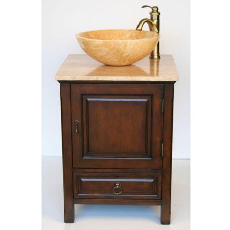 22 Inch Small Travertine Vessel Sink Bathroom Vanity Small
