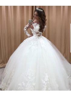Prinzessin Brautkleider Mit Spitze Tull Hochzeitskleider Lange Armel Gunstig Prinzessin Kleid Hochzeit Braut Hochzeitskleid Tull