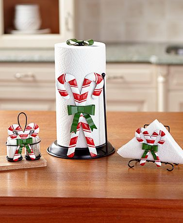 Candy Cane Countertop Collection Christmas Candy Cane Decorations Paper Towel Holder Tabletop Decorations