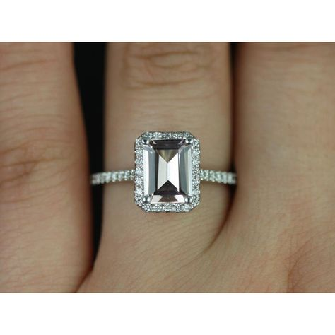 Lisette 8x6mm 14kt White Gold Rectangle Emerald Morganite and Diamonds... ($1,200) ❤ liked on Polyvore featuring jewelry, rings, emerald jewelry, rectangular engagement rings, halo diamond ring, white gold rings and engagement rings