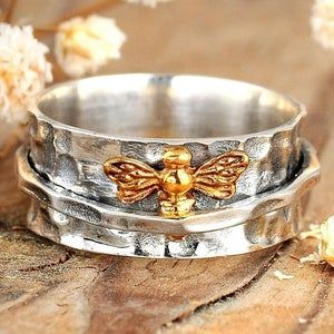Honey Bee Ring Sterling Silver Hammered Band and Gold Bee | Etsy