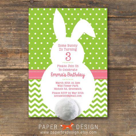Bunny Party Invitation Diy Printable Easter 12 50 Via Etsy