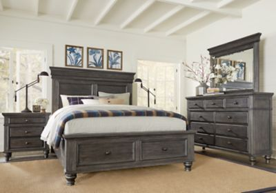Lake Town Gray 5 Pc King Panel Bedroom with Storage | New ...