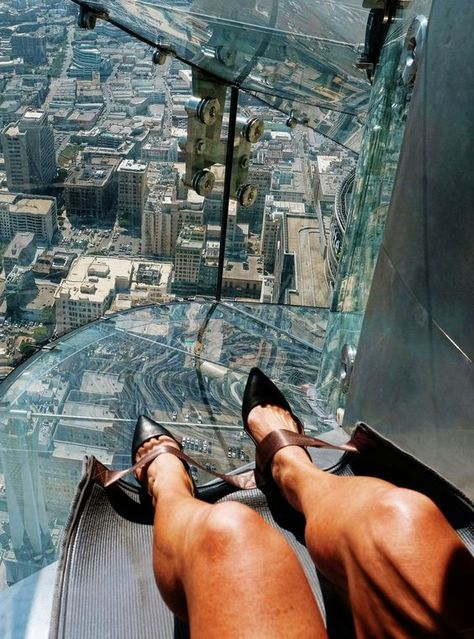 Los Angeles has a new slide on the OUE SkySpace L.A. observation deck that hovers 1,000 feet above ground.