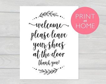 Welcome Please Leave Your Shoes At The Door Printable Pdf 4x6