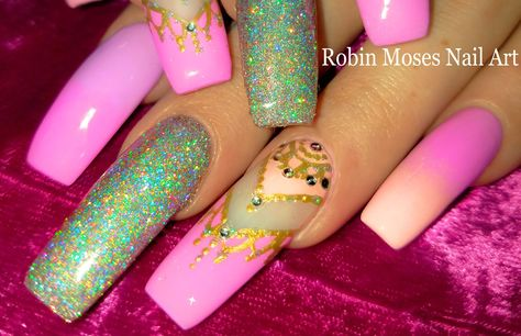 Lush Holographic Glitter Nail with Pastel Gradient and Henna Accent Nails Design